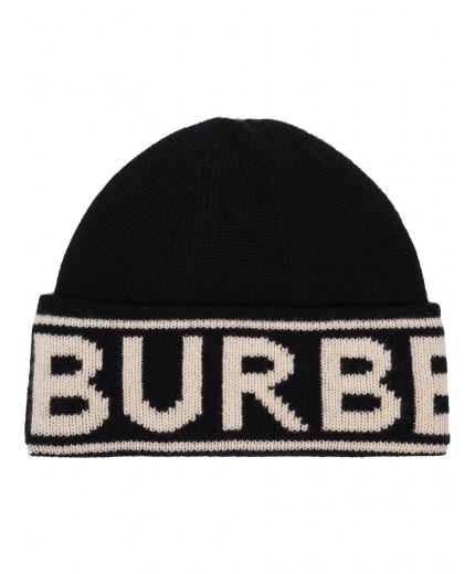 Burberry bonnet en maille intarsia à logo