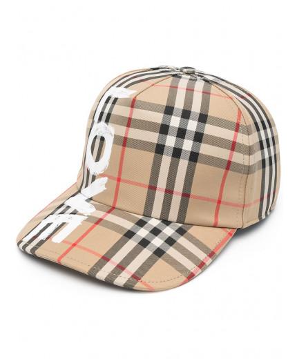 Burberry casquette à slogan imprimé et carreaux Vintage Check